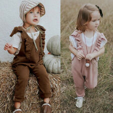 Kid Baby Girl Overalls Ruffle Jumpsuit Knitted Romper Long Pants  Outfit Clothes