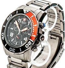 Swiss Military Hanowa acero inoxidable chronograph Chrono reloj nuevo checkerboard naranja o