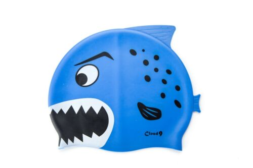 Kids Swim Caps Silicone Boys Cartoon Shark Swimming Hat Durable Flexible Stretch