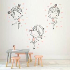 Cute Ballet Girl Dancing Wall Sticker Girl Room Dance Room Star Decals Wallpaper Ebay