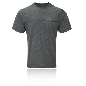 Ronhill-Uomo-tutti-i-giorni-Manica-Corta-Corsa-T-Shirt-Tee-Top-Grigio-Sport
