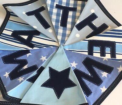 Espressive Tessuto Personalizzato Bunting Macchie Strisce Stelle Baby Boys Azzurro/blu Scuro Mix-mostra Il Titolo Originale Novel (In) Design;