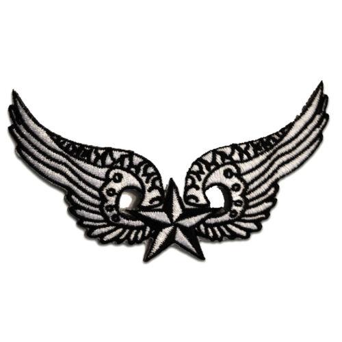 11,7 x 7,0 cm Patch Aufbügeln Aufnäher // Bügelbild Flügel mit Stern weiß