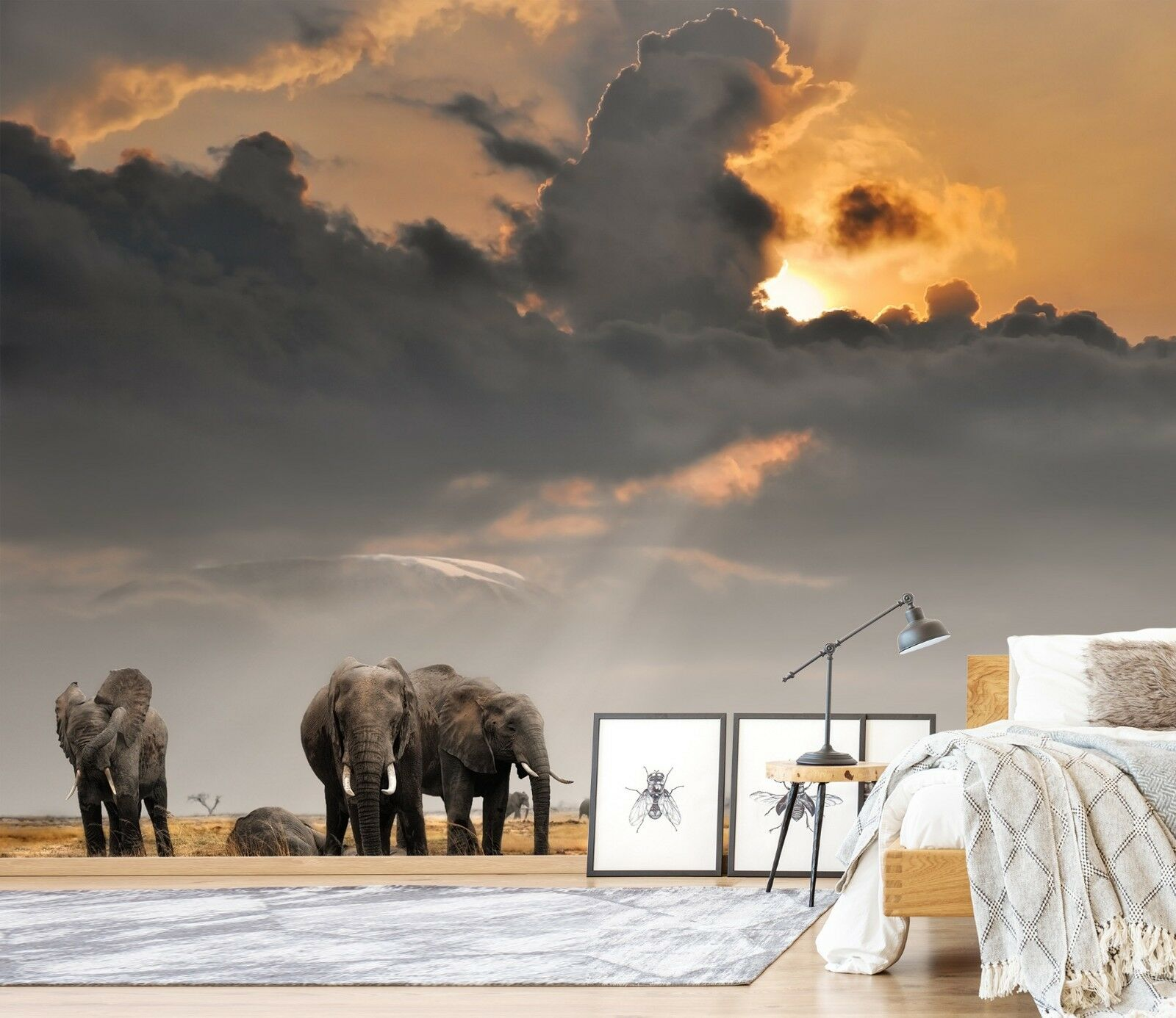 3D Dusk Prairie Elephant 45 Wall Paper Wall Print Decal Wall Deco Indoor Murals