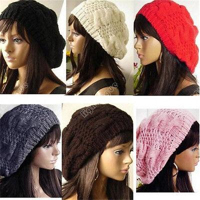 Fashion Women Warm Winter Beret Braided Baggy Beanie Knitted Crochet Hat SKI Cap