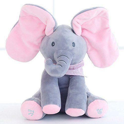Hot Peek-a-boo Elephant Baby Plush Toy Singing Stuffed Animated Animal Kids Doll