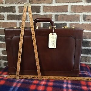 RARE-VINTAGE-1980s-POLISHED-BROWN-HARDSIDE-LEATHER-MACBOOK-BRIEFCASE-BAG-598