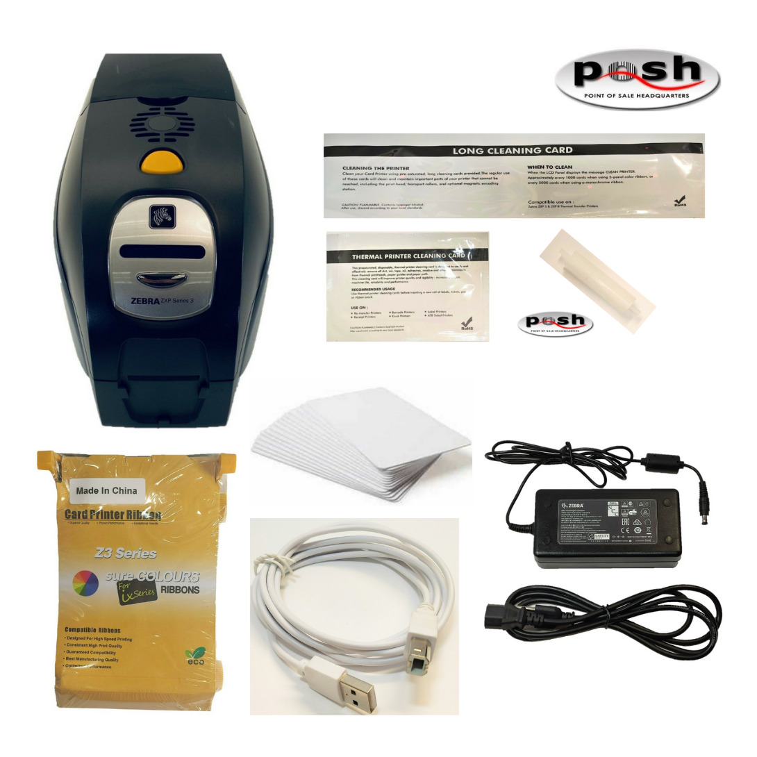 Complete Zebra ZXP Series 3 Card Printer Bundle- PS, Cards, Ink, & Cleaning Kit!. Buy it now for 379.95