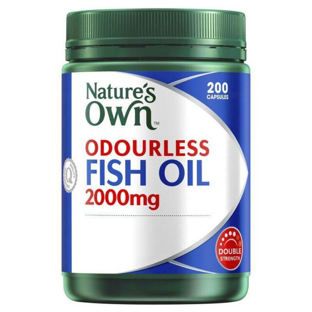 NATURE'S OWN ODOURLESS FISH OIL 2000MG 200 CAPSULES DOUBLE STRENGTH WITH OMEGA-3