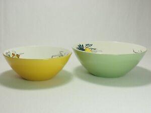 2-Keramik-Schuesseln-Villeroy-amp-Boch-Luxembourg-Pastell-Gruen-amp-Gelb-Innen-Dekor