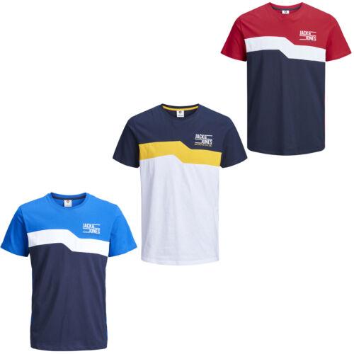 Jack /& Jones Core T-Shirt Chest Print Logo Colour Block Tee Mens JCOMikkel