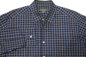 Ermenegildo-Zegna-button-up-long-sleeve-shirt-checks-plaid-mens-size-XL-cotton