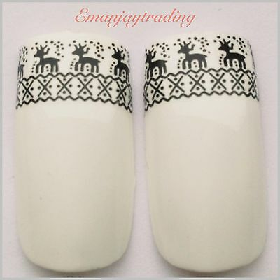 Nail Art Water Decals/Stickers/Transfers/Wraps  Christmas Black Reindeer #177