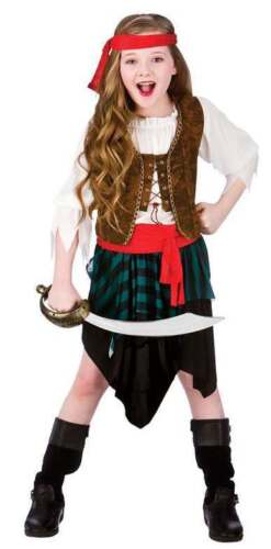 GIRLS HIGH SEAS CARIBBEAN PIRATE FANCY DRESS COSTUME