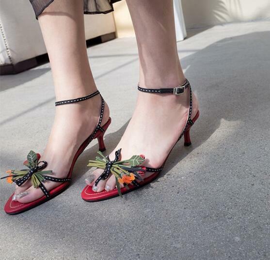 Women Sandals Clubwear shoes Red Stiletto Fashion Buckle Mid Heels Sexy Flower