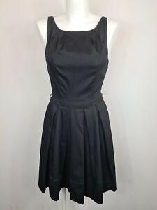 Portmans Black Micro Dot Textured Pleated A-Line Corporate Dress Women's Size 8
