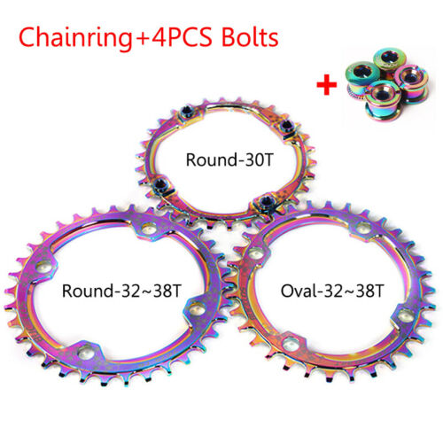BUCKLOS 104bcd Narrow Wide Single Colorful Chainring MTB Bike 30-38T Chainwheel