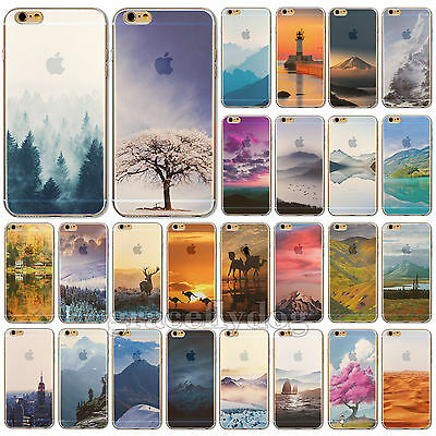 """Fashion Nature Printed Soft Thin TPU Case Cover For iPhone 4 5 5C 6 4.7"""" 6 Plus"""