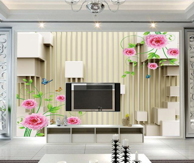 Papel Pintado Mural Mural Pintado De Vellón Diseño Moderno De Flores 2 Paisaje Fondo Pantalla c854a8