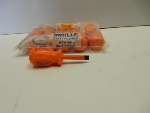 """SIBILLE INSULATED SCREWDRIVERS 1//4/"""" x 1-5//8/"""" SIZE FLAT// SLOTTED 10 PER LOT NEW"""