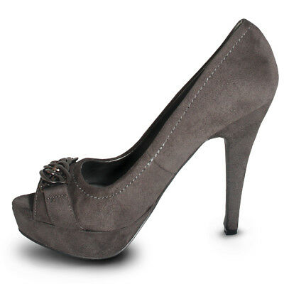 12 CM GRAUE PEEP TOES HIGH HEELS PANZERKETTE PARTY DAMENSCHUHE GR 38/40/41 814