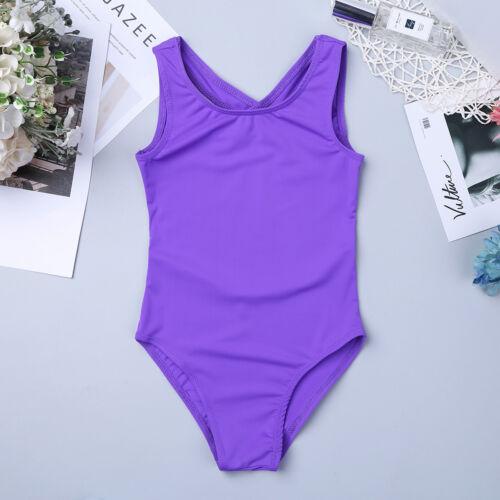 Kid Girls Halter Ballet Dance Leotard Gymnastic Workout Jumpsuit Clothes 3-14Y