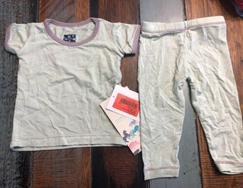 KicKee Pants Basic Classic Short Sleeve Pajamas Aloe with Feather 0-3 Months