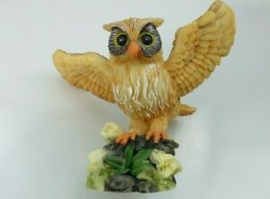 Owl Bird On Branch Resin Figurine Outstretched Wings Yellow Flowers Collectible