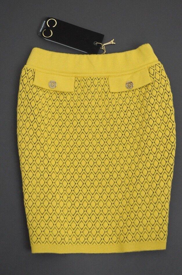 WAGGON PARIS - Luxury yellow knitted mini skirt VERY RARE  XS   6