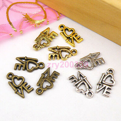 50Pcs Tibetan Silver,Antiqued Gold,Broze Tiny Love Charms Pendant Drops M1105