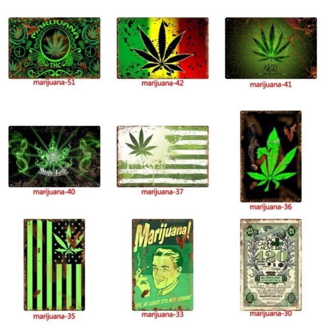 Metal Tin Weed Pot marijuana Wall Home Art Retro Decor Sign Living Bed joint