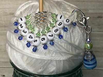 Row Counter Markers Blue /& Green 1-10 Numbered Stitch Markers /& Beaded Holder