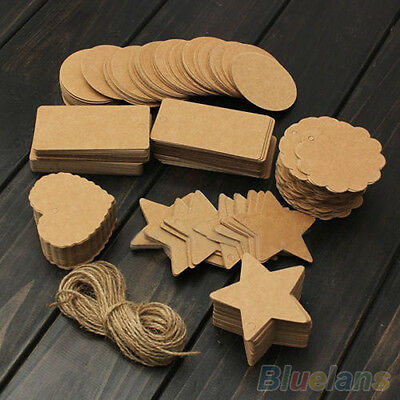 Vintage Blank Brown Kraft Paper Hang Tags Wedding Favor Label Gift Cards 100