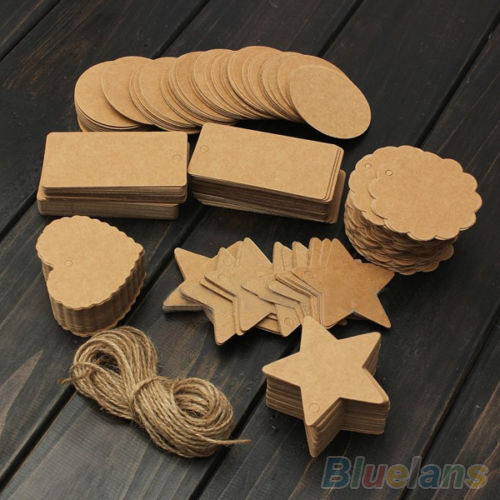 Novelty Blank Brown Kraft Paper Hang Tags Wedding Favor Label Gift Cards 100