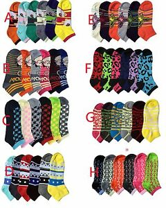6-12-Pairs-Women-039-s-Mamia-Multi-Color-Fancy-Design-Ankle-Low-cut-Socks-Size-9-11