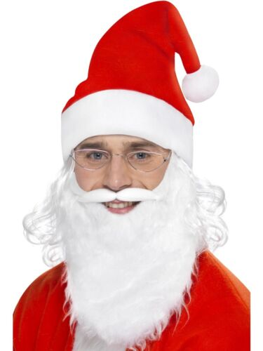 Christmas Santa Father Christmas Dress Up Set Hat with Attached Wig Beard /& Glas