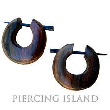 Ohrringe Goa Creolen Kreolen Holz Wood Piercing Design Schmuck ER039