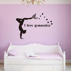 I Love Gymnastics Dancing Butterfly Wall Stickers Girls Bedroom Wall