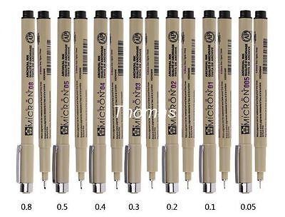 7Pcs Set Sakura Micron Sketch Fine Liner Pen 005/01/02/03/04/05/08 Art Supplies