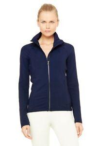ALO-Yoga-New-Womens-Navy-Blue-Kata-Long-Sleeve-Mesh-Side-Full-Zip-Jacket-S-Small