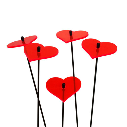 Heart fluorescent colourful garden ornament love valentine SunCatcher Set of 5
