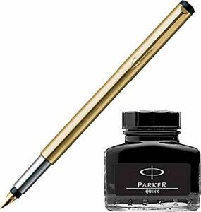 Parker Vector Gold GT Fountain Pen + Quink Ink Bottle - Black (30ML)