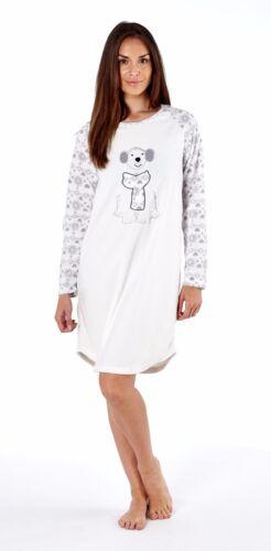Ladies Polar Bear Embroidered Applique Soft Fleece Winter Warm Night Shirt 8-18