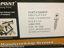 "INTERCORP X820NZ #8-11 X 1-1/4"" Particle Board Cabinet Screws (Philip) 8,000/BOX"