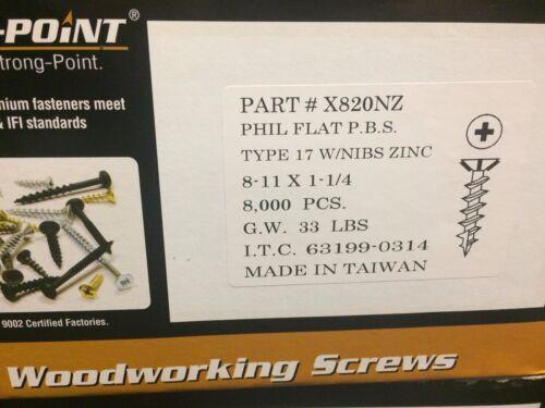 "8,000//BOX INTERCORP X820NZ #8-11 X 1-1//4/"" Particle Board Cabinet Screws Philip"