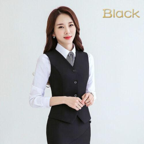 Ladies Business Work Vest Sleeveless Blazer Professional Waistcoat Slim Tops Red