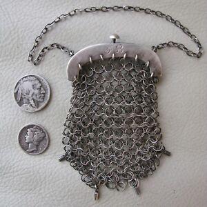 Antique Victorian Silver T Mesh Mail Old World Chatelaine Coin Purse Monogram Fb Art Nouveau Bags, Handbags & Cases
