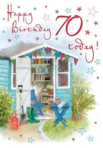 70th Birthday Card Regal Male Female Quality NEW Garden Potting Shed