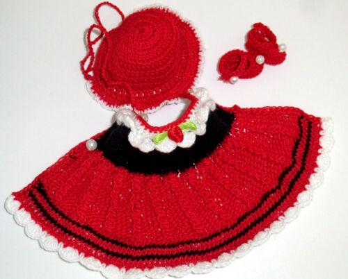 3-tlg Set Outfit Kleid Schuhe SK Strampelchen Schildkröt Baby  Puppen 15-17 cm