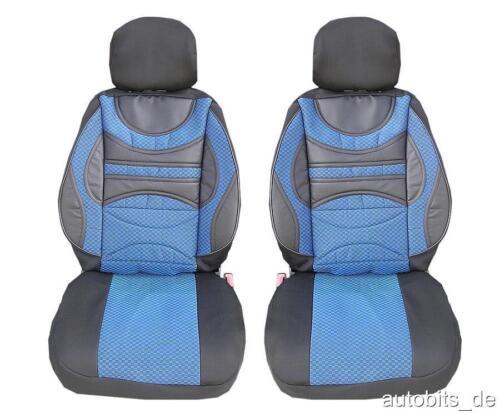2x Sport Auto Sitzbezüge Schonbezüge Polyester Blau für Citroen Dacia Fiat Ford